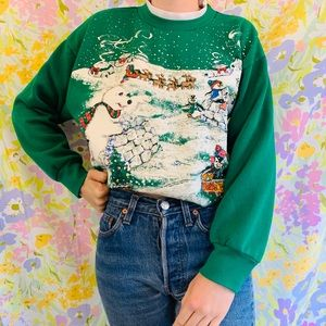 [vintage] 80s Green Winter Christmas Sweatshirt